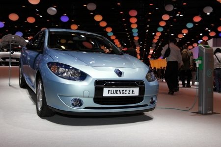 ze: The new Renault Fluence ZE displayed at the 2012 Paris Motor Show on September 30, 2012 in Paris