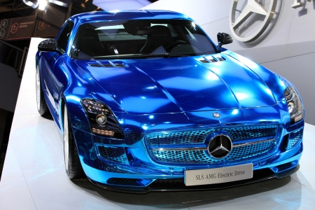 mercedes:  The Mercedes SLS AMG Electric Drive displayed at the 2012 Paris Motor Show on October 14, 2012 in Paris Editorial