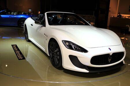 mc: he Maserati GranCabrio MC displayed at the 2012 Paris Motor Show on October 14, 2012 in Paris Editorial