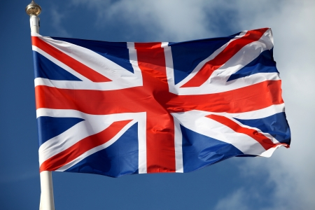The British flag waving in the wind Banque d'images