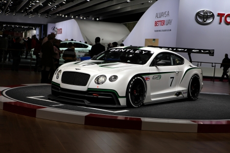 gt3: The new Bentley Continental GT3 displayed at the 2012 Paris Motor Show on September 30, 2012 in Paris
