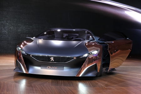 The Peugeot Onyx Concept displayed at the 2012 Paris Motor Show on September 30, 2012 in Paris
