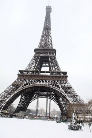 brownish: The Eiffel Tower in Winter Time Stock Photo