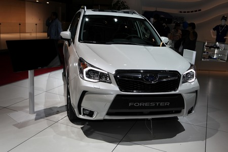 The new Subaru Forester displayed at the 2014 Paris Motor Show