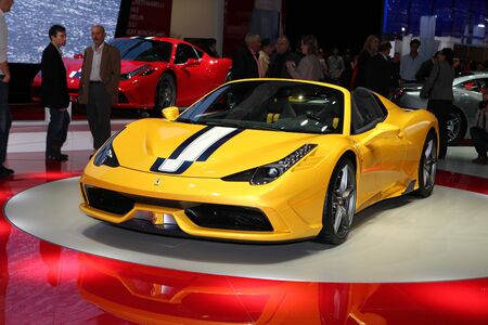 The Ferrari 458 Speciale A displayed at the 2014 Paris Motor Show