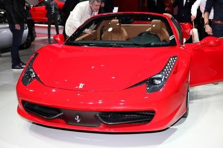 The Ferrari 458 Italia displayed at the 2014 Paris Motor Show