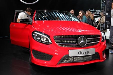 daimler: The new Mercedes B-class  displayed at the 2014 Paris Motor Show