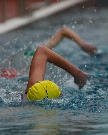 dynamic activity: swimmers Stock Photo