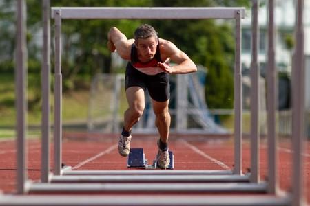 hurdling: sprint start