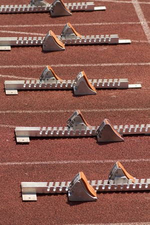 starting blocks in track and field photo