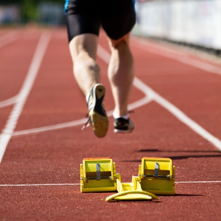 activ: sprint start in track and field Stock Photo