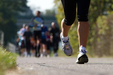 runner in a marathon Stock Photo