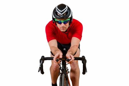 triathlete on a bicycle Stock Photo