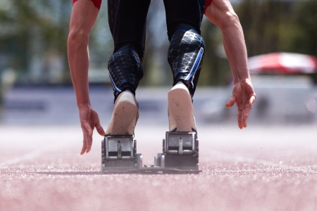 sprintstart in track and field Stock Photo