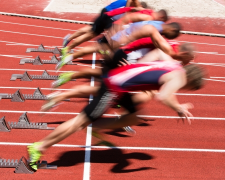 contest: sprintstart in track and field Stock Photo