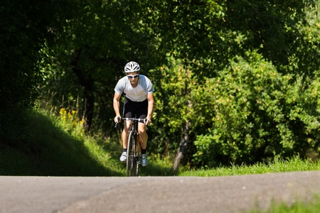 cyclist in an uphill