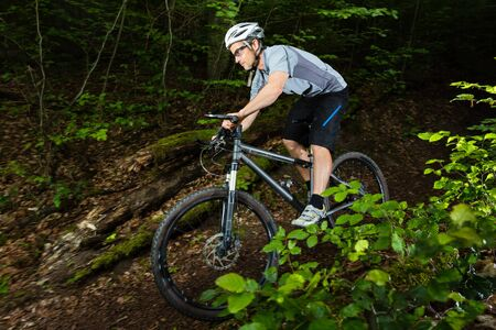 extreme sports: mountain biker on a trail Stock Photo