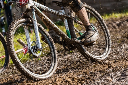 mountain biker: mountain biker in mud