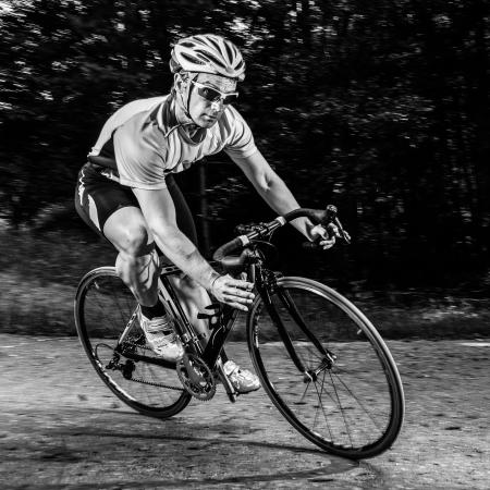 ciclismo: atleta en una bicicleta Foto de archivo