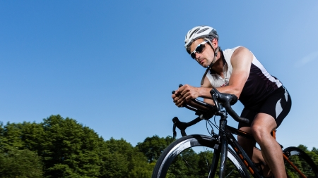 triathlon: triathlete in cycling