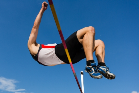 high jump: High jump in track and field Stock Photo