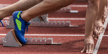 sprint start in track and field Stock Photo