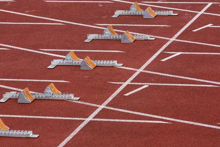 starting blocks: Starting blocks in track and field Stock Photo