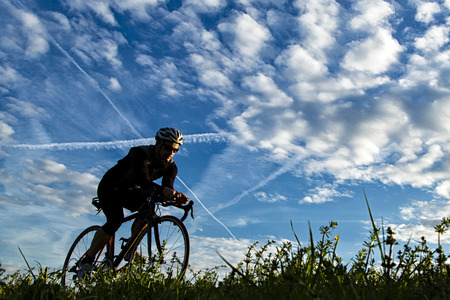 contest: Triathlete in cycling Stock Photo