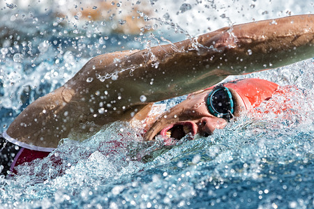 triathlon: Swimmer in a competition Stock Photo