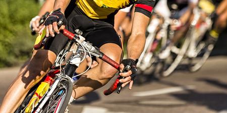 competencia: La carrera de ciclismo  Foto de archivo