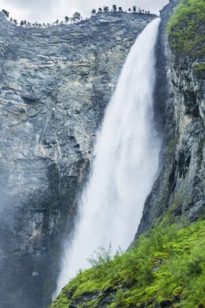 dynamic movement: Waterfall Vettisfossen in Utladalen in Norway