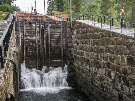 Telemark Canal, sluice Vrangfoss, Telemark Stock Photo