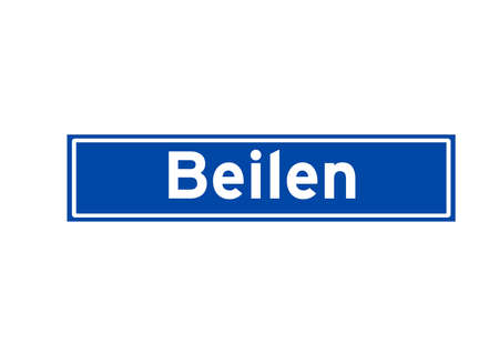 Beilen isolated Dutch place name sign. City sign from the Netherlands.