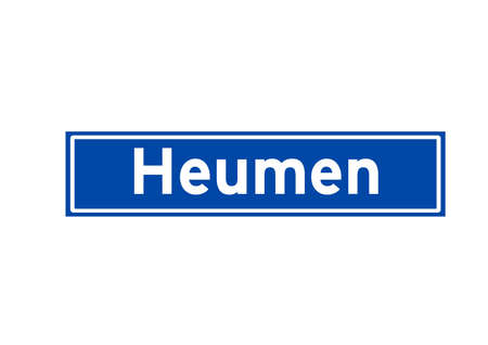 Heumen isolated Dutch place name sign. City sign from the Netherlands.