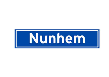 Nunhem isolated Dutch place name sign. City sign from the Netherlands.