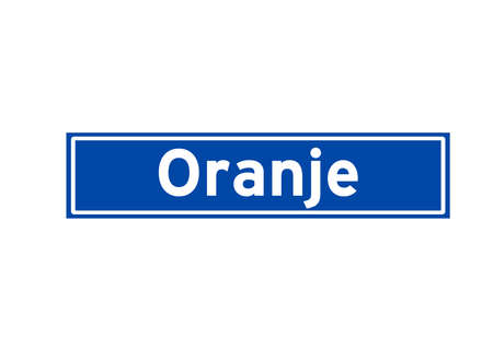 Oranje isolated Dutch place name sign. City sign from the Netherlands.