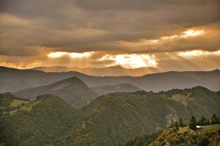 Sunset in the Carpathian Mountains, Transylvania