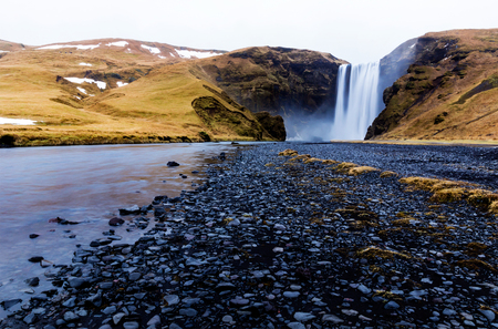 skogafoss waterfall: View of the famous Skogafoss waterfall in southenr Iceland