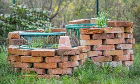 selfmade herb bed in a garden Stock Photo