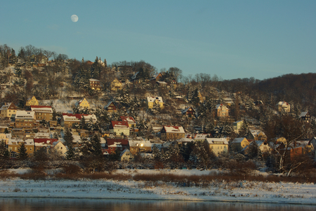 winter evening: Slope at river Elbe - winter evening in Dresden, Germany Stock Photo