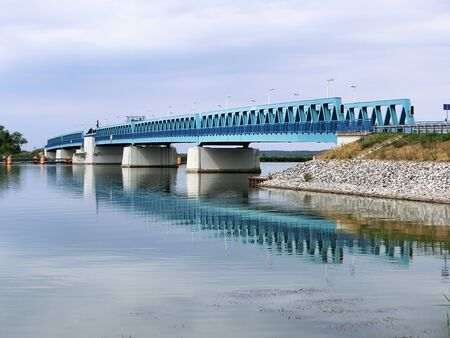 Blue bridge over the Peene, arm of the sea, Usedom Iceland, Baltic sea, Germany