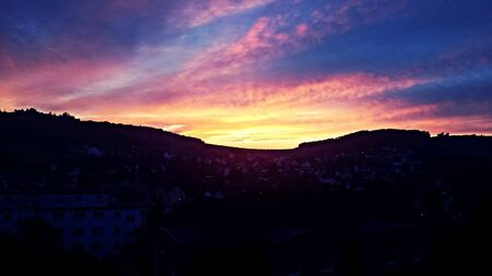 blue-red sunset in Germany