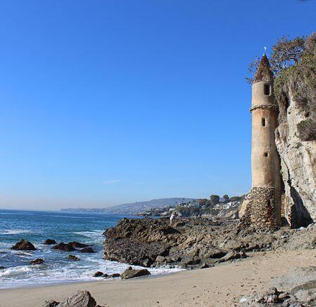 The tower at Victoria Beach in Laguna Beach Southern California 스톡 콘텐츠