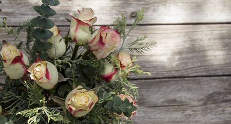 nuptials: A bouquet of osira roses at a wedding in the countryside of France on Valentines Day Stock Photo