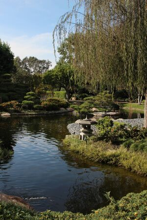 burns: Japanese garden  Earl Burns Miller Japanese garden in Long Beach Stock Photo
