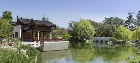southern california: Panoramic of the Chinese Garden at the Huntington Botanical Gardens in Southern California