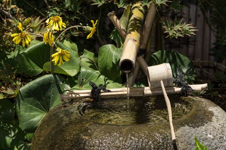 bamboo fountain: Bamboo water fountain gives off a relaxing steady stream of fluid