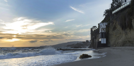turret: The sunset over the turret tower at Victoria Beach in Laguna Beach, Southern California Stock Photo