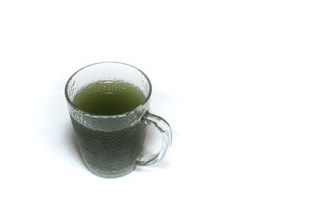 beneficial: Fermented organic kombucha green drink with beneficial bacteria, spirulina and antioxidants Stock Photo