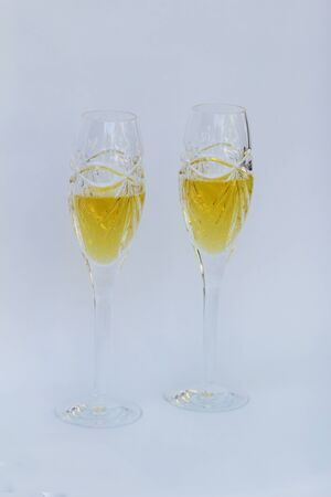 new years: Champagne crystal glass flute on New Years Eve Stock Photo